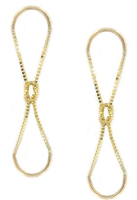 Poppy Finch 14k Gold Knotted Box Chain Dangle Earrings