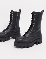 Bershka lace up biker boot with sole detail in black