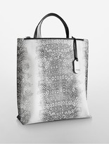 Calvin Klein Platinum Edged Python-Embossed Leather Tote Bag