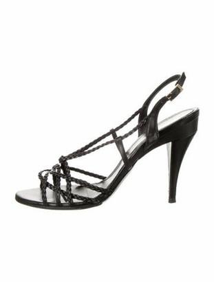 Fendi Leather Slingback Sandals Black
