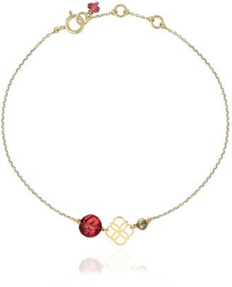Perle de Lune Daisy Gold Bracelet Red Garnet - 18k Gold