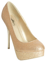 Wet Seal WetSeal Glitter Double Platform Heel Gold