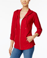 Style&Co. Style & Co Zippered Roll-Tab Hoodie, Only at Macy's