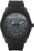 Zoo York Mens Black Graphic Rubber Strap Watch