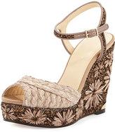 Jimmy Choo Perla Jute/Glitter Wedge Sandal, Light Mocha