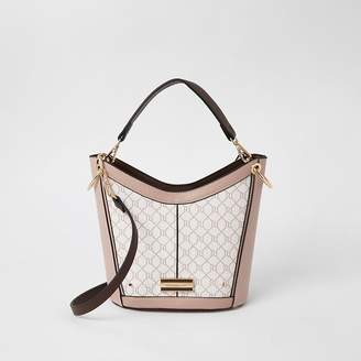 River Island Pink RI monogram cross body bucket bag