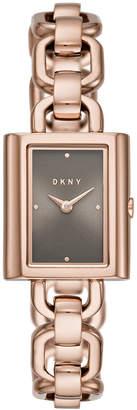 DKNY Women Uptown Rose Gold-Tone Stainless Steel Bracelet Watch 21x24mm