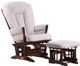 Dutailier 2 Post Glider and Ottoman Combo, Coffee/Light Grey