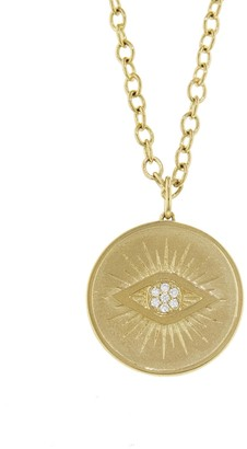 Sydney Evan Evil Eye Coin Necklace - Yellow Gold