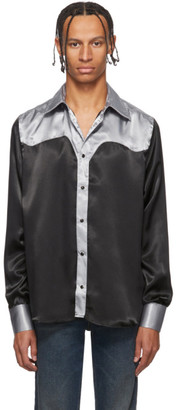 SSS World Corp Black and Silver Western Shirt