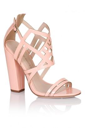 Little Mistress Footwear Pink Square Heel Strap Shoes
