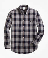 Brooks Brothers Regent Fit Yarn-Dyed Oxford Grey Plaid Sport Shirt