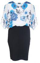 Quiz Curve Cream And Blue Chiffon Bubble Midi Dress