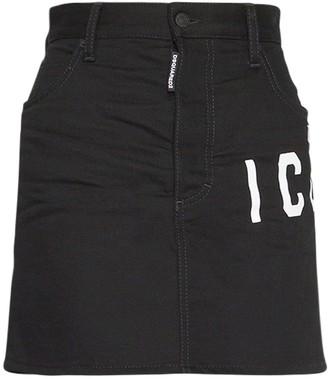 DSQUARED2 Icon Cotton Stretch Denim Mini Skirt