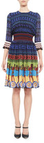 Mary Katrantzou Greek Key-Print Silk Dress, Blue Pattern