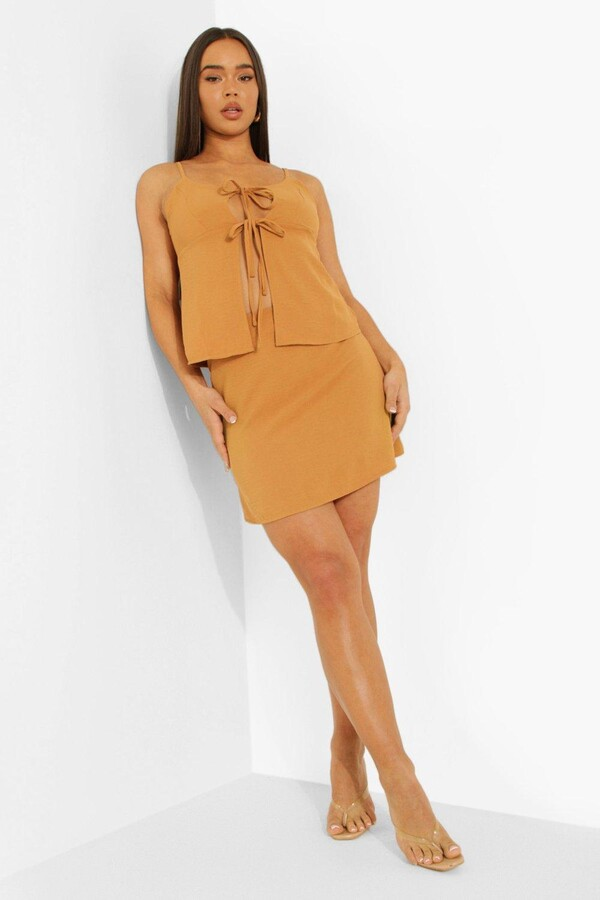 Thumbnail for your product : boohoo Hammered Satin Tie Cami & Mini Skirt