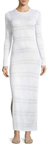 Melissa Odabash Melissa Crewneck Long-Sleeve Crochet Lace Maxi Dress