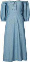 Sea off-shoulder midi dress - women - Cotton - 4