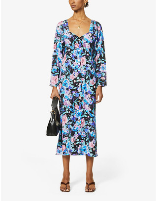 ART DEALER Floral-print stretch-silk midi dress