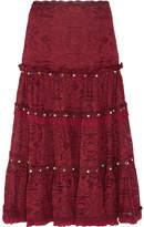 Jonathan Simkhai Embellished Corded Lace Midi Skirt - Burgundy