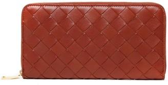 Bottega Veneta Woven Red Leather Zip Around Wallet