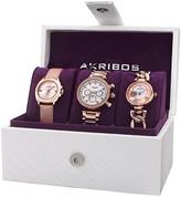 Akribos XXIV Women's Rose Tone Watch Gift Set
