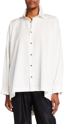 eskandar High-Low Collared Button-Down Shirt