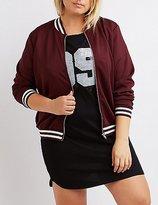 Charlotte Russe Plus Size Varsity Stripe Bomber Jacket