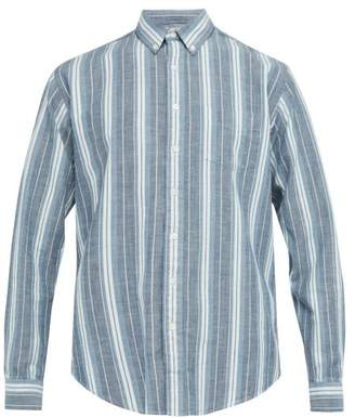 Schnaydermans Schnayderman's - Striped Cotton Oxford Shirt - Mens - Blue Multi