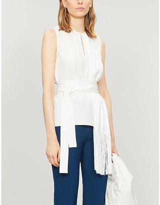 Victoria Victoria Beckham Fringe scarf-belt crepe top