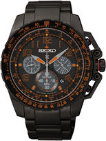 Seiko Aviator Mens Black Stainless Steel Solar Chronograph Watch SSC277