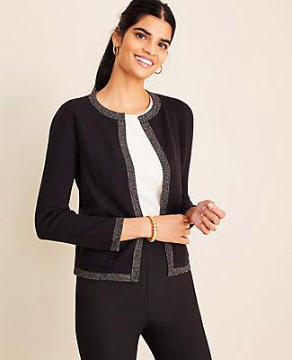 Ann Taylor Petite Shimmer Trim Sweater Jacket
