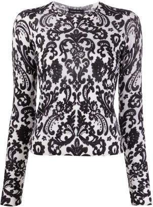 Samantha Sung Fine Knit Brocade Pattern Jumper