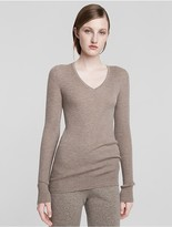 Calvin Klein Collection Fine Cashmere Long Sleeve V Neck Sweater