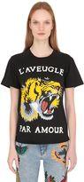 Gucci Tiger Printed Cotton Jersey T-Shirt