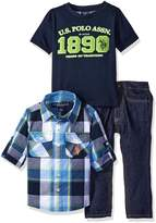 U.S. Polo Assn. Little Boys' 3 Piece Long Sleeve Fancy Sport Shirt, T-Shirt Or Creeper, and Denim Jean Set