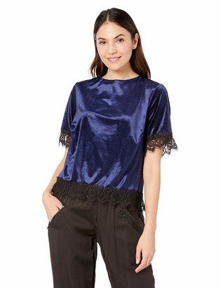 Three Dots Women's VM1558 Stretch Panne Velvet S/S T-Shirt