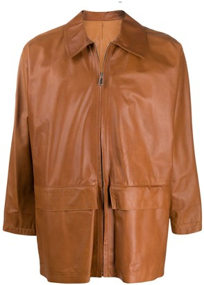 Gianfranco Ferré Pre Owned Zip-Up Leather Jacket
