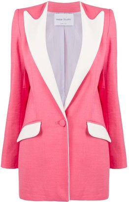 Hebe Studio Colour-Block Fitted Blazer