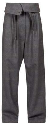 Loewe Folded-waist Straight-leg Wool Trousers - Womens - Grey Multi