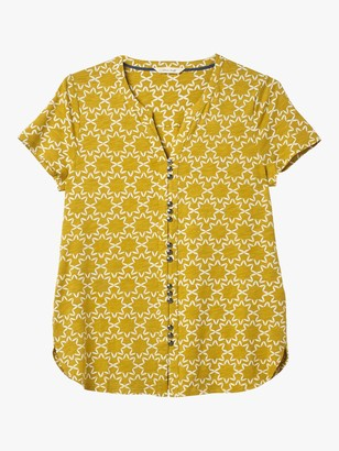 White Stuff Willow Abstract Floral Print Short Sleeve Shirt, Mustard