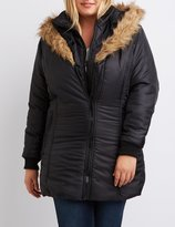 Charlotte Russe Plus Size Faux Fur Hooded Puffer Jacket