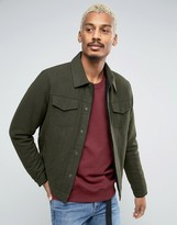 Asos Wool Mix Jacket With Fleece Lining In Khaki