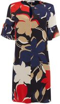 Marella ALARE bold floral print bell sleeve shift dress