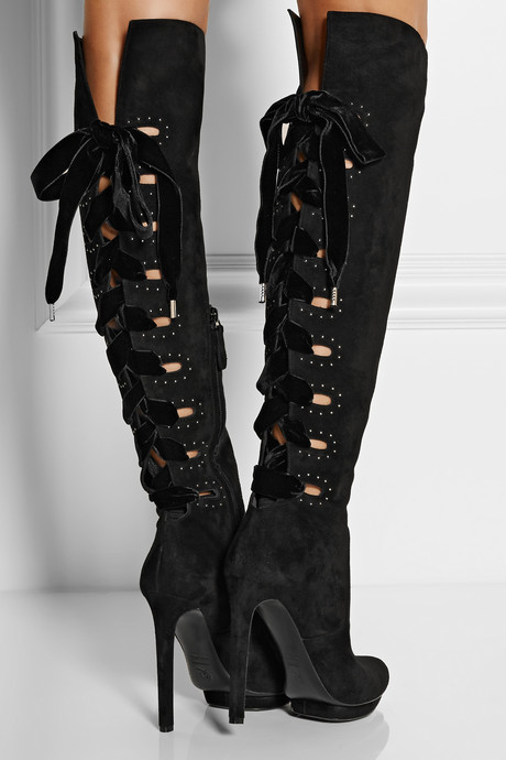 Alexander McQueen Cutout suede knee boots