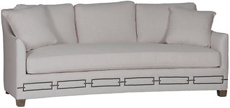"Gabby Baldwin 88"" Sofa - Zulu Feather frame, walnut; upholstery, feather gray; nailheads, brass"