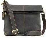 Visconti Brown Fold-Over Leather Messenger Bag