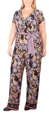 NY Collection Plus Size Paisley-Print Tie-Belt Jumpsuit