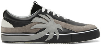 Palm Angels Black and Grey Palm Vulcanized Low Sneakers