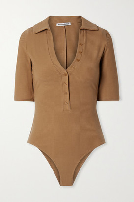 Reformation Rita Ribbed Stretch-tencel Lyocell Bodysuit - Light brown